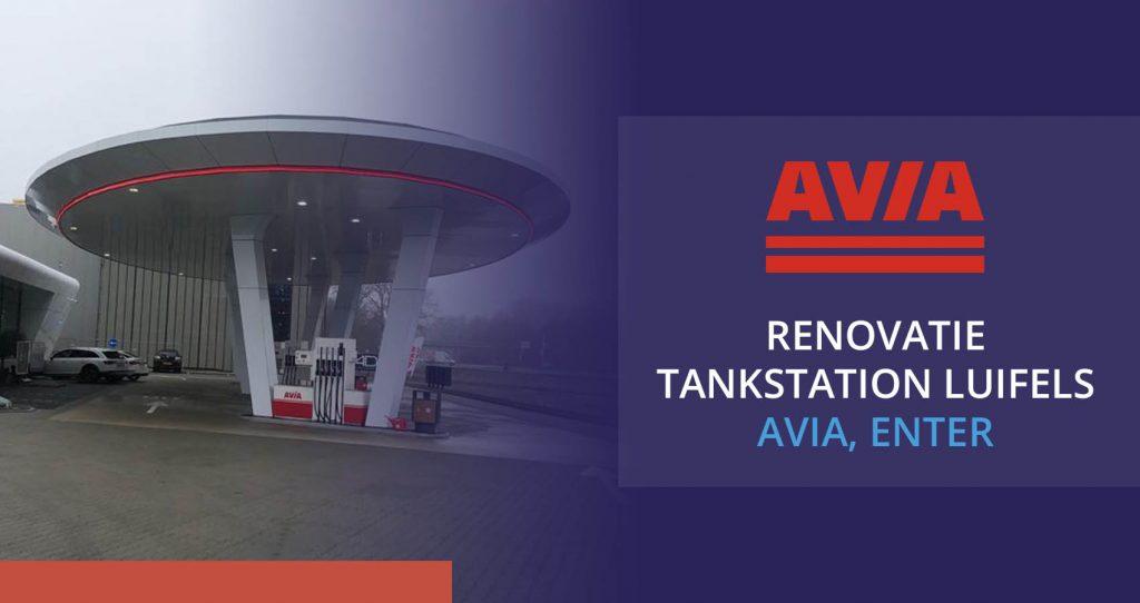 Renovatie luifels tankstation Avia in Enter met Cleanpanel panelen.